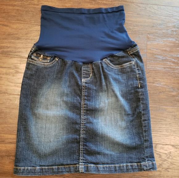 11ed8251d6a9e Motherhood Skirts | Oh Baby Denim Blue Jean Maternity Skirt | Poshmark